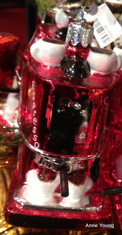 Christmas bauble, cappuccino machine